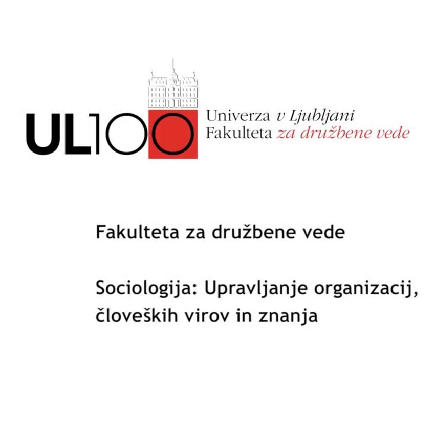 Sociologija: Upravljanje organizacij, človeških virov in znanja